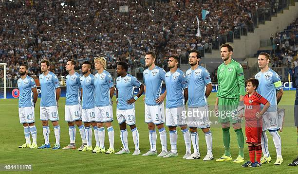 Team of SS Lazio before the UEFA Champions League qualifying round play off first leg match between SS Lazio and Bayer Leverkusen at Olimpico Stadium...
