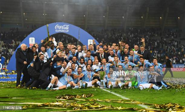 Team of SS Lazio celebrate the victory of the Italian Supercup after the Italian Supercup match between Juventus and SS Lazio at King Saud University...