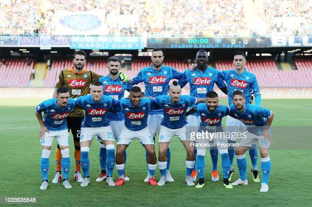 Team of SSC Napoli before the serie A match between SSC Napoli and ACF Fiorentina at Stadio San Paolo on September 15 2018 in Naples Italy