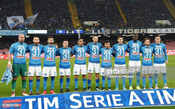 Team of SSC Napoli before the serie A match between SSC Napoli and SS Lazio at Stadio San Paolo on February 10 2018 in Naples Italy