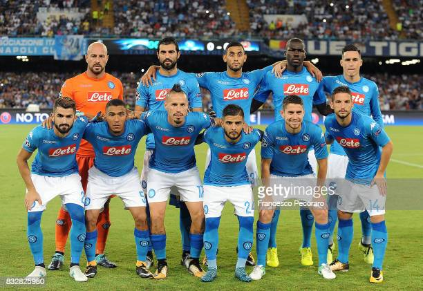 Team of SSC Napoli before the UEFA Champions League Qualifying PlayOffs Round First Leg match between SSC Napoli and OGC Nice at Stadio San Paolo on...