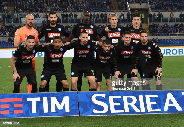Team of SSC Napoli prior the Serie A match between SS Lazio and SSC Napoli at Stadio Olimpico on April 9 2017 in Rome Italy