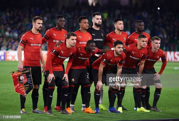 Team of Stade Rennais pose for a photograph during the UEFA Europa League Round of 32 Second Leg match between Real Betis v Stade Rennais at Estadio...