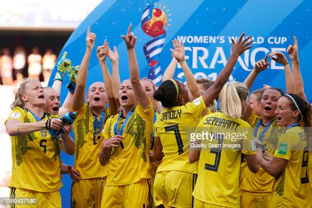 Team of Sweden celebrate winning the 2019 FIFA Women's World Cup France 3rd Place match between England and Sweden at Stade de Nice on July 06 2019...