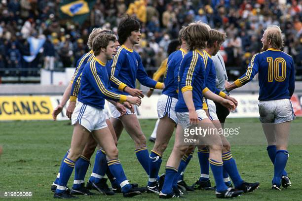 Team of Sweden celebrates his goal during the match between Brazil and Sweden played at Mar Del Plata Argentina on June 3rd 1978