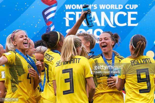 Team of Sweden celebrates the third place after winning the match during the 2019 FIFA Women's World Cup France 3rd Place Match match between England...