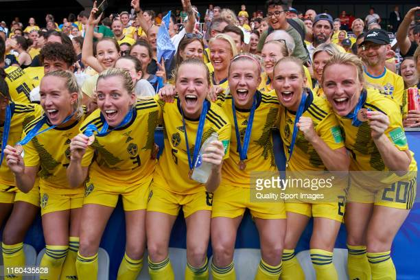 Team of Sweden celebrates third places after the match during the 2019 FIFA Women's World Cup France 3rd Place Match match between England and Sweden...