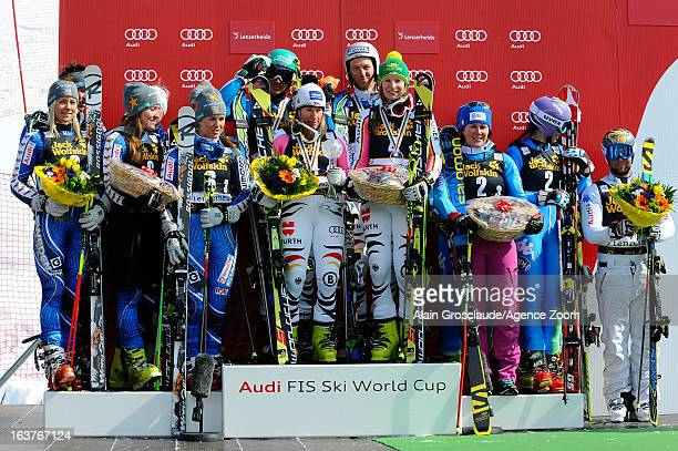 Team of Sweden Team of Germany and Team of Italy on the podium during the Audi FIS Alpine Ski World Cup Nation's Team event on March 15 2013 in...