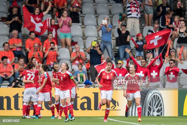 Team of Switzerland celebrates after scoring second goal during the UEFA Women's Euro 2017 Group C match between Iceland and Switzerland at Stadion...