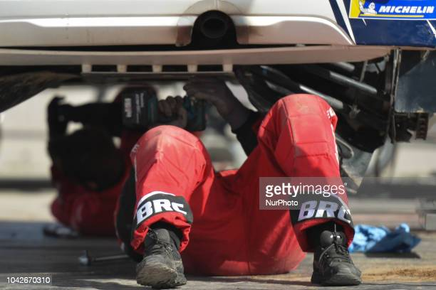Team of technicians in action on Day Two of the PZM 75th Rally Poland in Mikolajki On Saturday September 22 in Mikolajki Poland