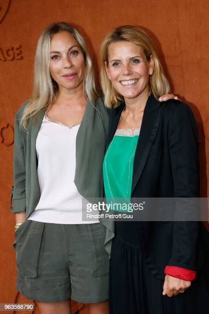 Team of Telematin Charlotte Bouteloup and Laura Tenoudji attend the 2018 French Open Day Three at Roland Garros on May 29 2018 in Paris France