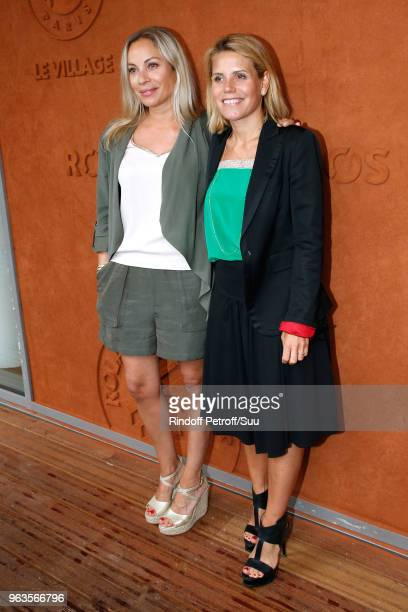 "Team of ""Telematin"" Charlotte Bouteloup and Laura Tenoudji attend the 2018 French Open - Day Three at Roland Garros on May 29, 2018 in Paris, France."