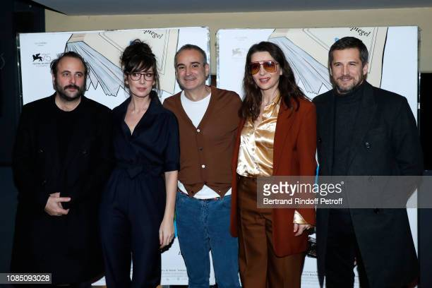 Team of the movie Actor Vincent Macaigne humorist Nora Hamzawi director Olivier Assayas actors Juliette Binoche and Guillaume Canet attend the...