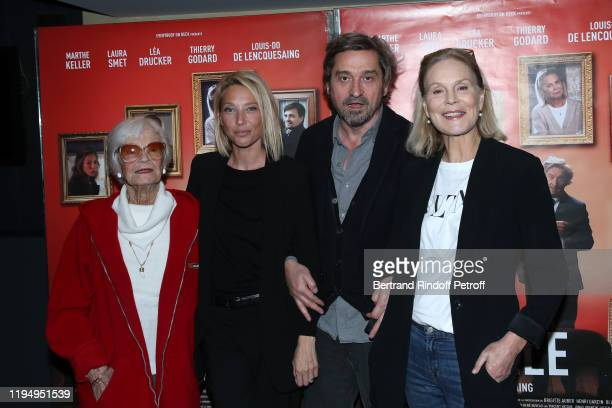 Team of the movie Actors Brigitte Aubert Laura Smet director LouisDo de Lencquesaing and actress Marthe Keller attend the La Sainte Famille Premiere...