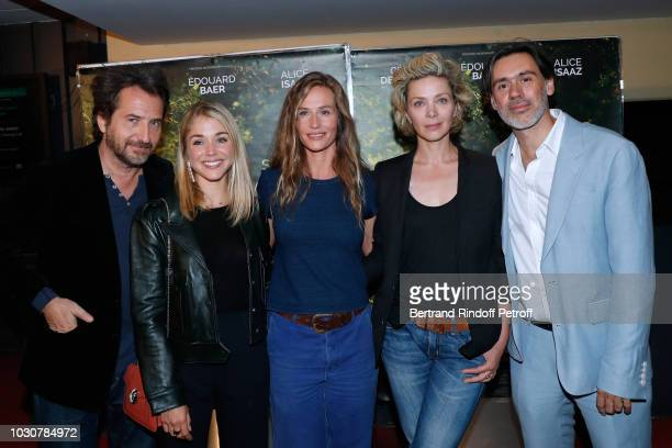 Team of the movie Actors Edouard Baer Alice Isaaz Cecile de France Natalia Dontcheva and Director Emmanuel Mouret attend the 'Mademoiselle De...