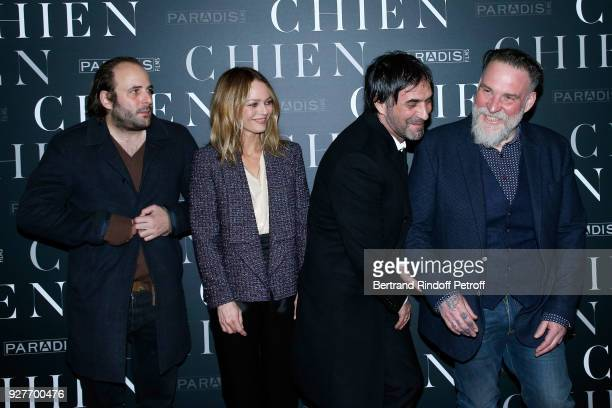 Team of the movie Actors Vincent Macaigne Vanessa Paradis director Samuel Benchetrit and actor Bouli Lanners attend the 'Chien' Paris Premiere at Mk2...
