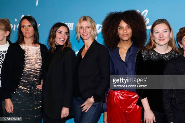 """Team of the movie : Director Jeanne Herry, Elodie Bouchez, Sandrine Kiberlain, Stefi Celma and Leila Muse attend the """"Pupille"""" Premiere at Cinema..."""