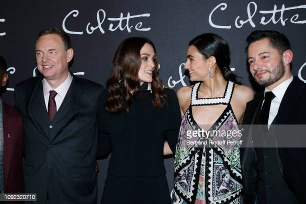 Team of the movie Director Wash Westmoreland actors Keira Knightley Aiysha Hart and Jake Graf attend the 'Colette' Paris Premiere at Cinema Gaumont...