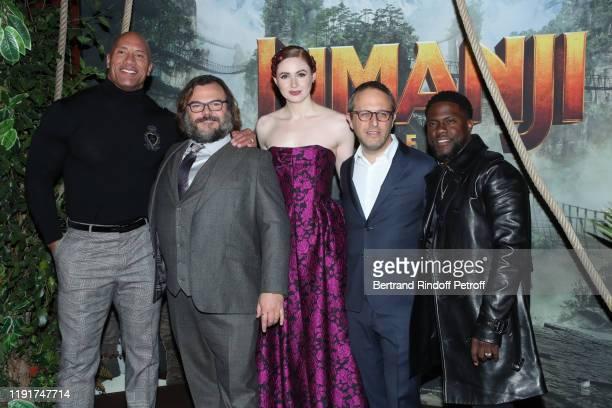 Team of the movie Dwayne Johnson Jack Black Karen Gillan director Jake Kasdan and Kevin Hart attend the photocall of the Jumanji Next Level film at...