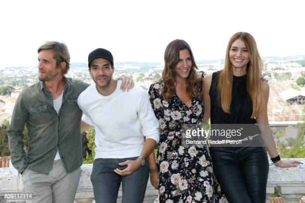 Team of the movie 'Epousemoi mon pote' actor Philippe Lacheau director Tarek Boudali actress Charlotte Gabris and Nadege Dabrowski aka Andy Raconte...
