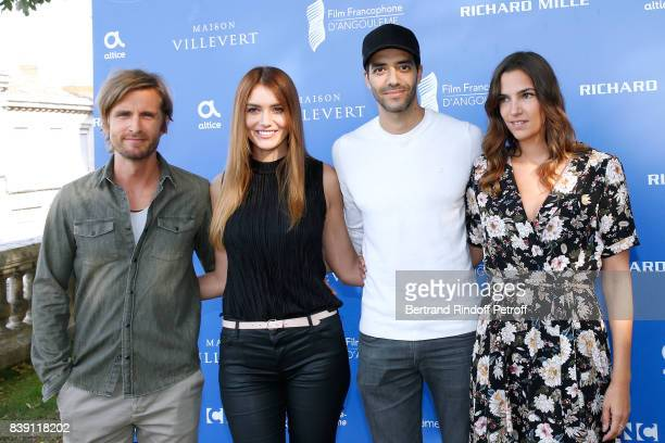 Team of the movie 'Epousemoi mon pote' actors Philippe Lacheau Nadege Dabrowski aka Andy Raconte director Tarek Boudali and actress Charlotte Gabris...