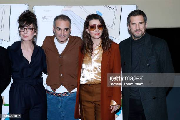 Team of the movie Humorist Nora Hamzawi director Olivier Assayas actors Juliette Binoche and Guillaume Canet attend the Doubles Vies Premiere at UGC...