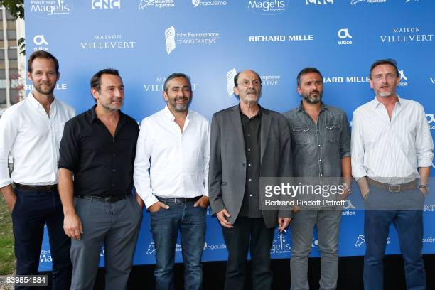 Team of the movie 'Le sens de la fete' actors Benjamin Laverhne Gilles Lellouche codirector Eric Toledano actor JeanPierre Bacri codirector Olivier...