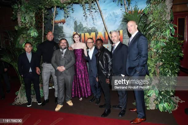 Team of the movie Producer Melvin Mar actors Dwayne Johnson Jack Black Karen Gillan director Jake Kasdan actor Kevin Hart producers Matt Tolmach and...