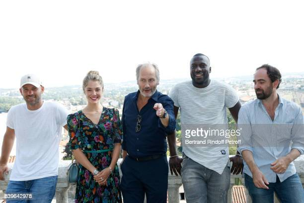 Team of the movie 'Surface de reparation' actors Franck Gastambide Alice Isaaz Hippolyte Girardot Moussa Mansaly and director Christophe Regin attend...