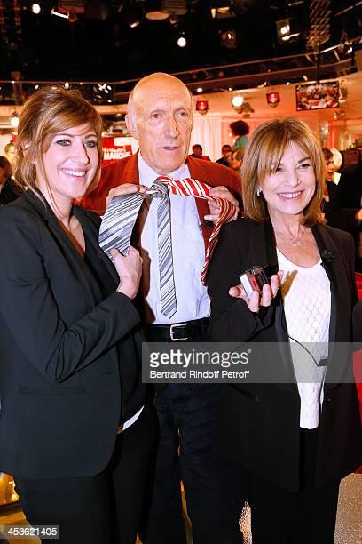 Team of Theater piece 'Le mur' at Petit Theatre de Paris autor Amanda Sthers actors Nicole Calfan and Rufus attend 'Vivement Dimanche' French TV Show...