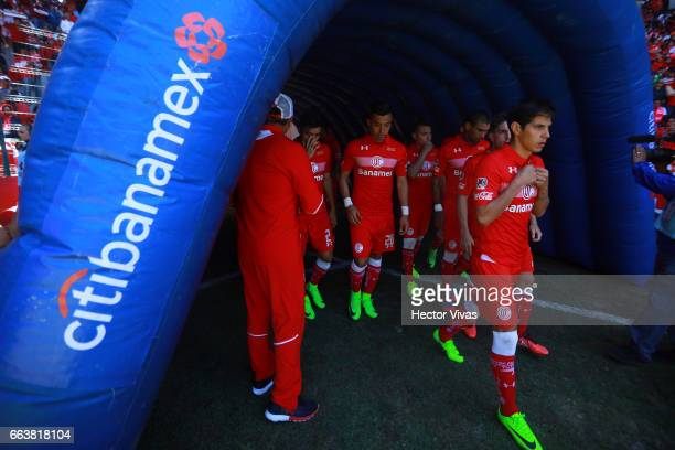 Team of Toluca enter to the field during the 12th round match between Toluca and Necaxa as part of the Torneo Clausura 2017 Liga MX at Nemesio Diez...