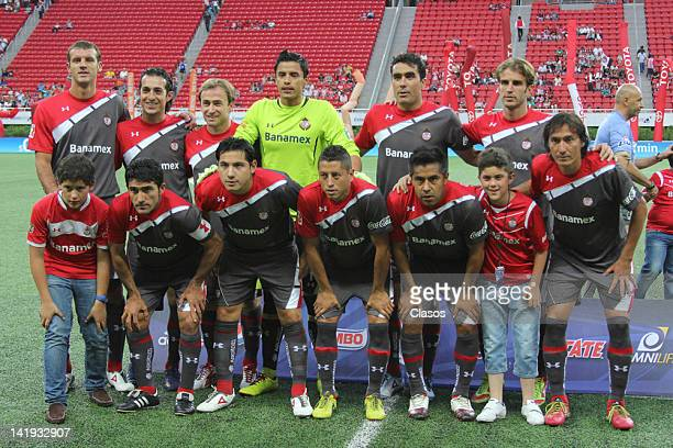 Team of Toluca pose for a photo during a match between Chivas and Toluca as part of the Torneo Clausura 2012 at Omnilife Stadium on March 24, 2012 in...