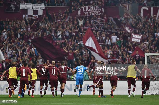 Team of Torino FC celebrate victory at the end of the Serie A match between Torino FC and Juventus FC at Stadio Olimpico di Torino on April 26, 2015...