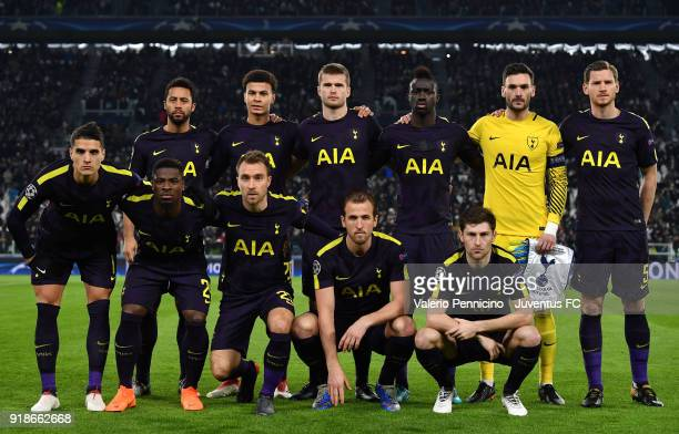 Team of Tottenham Hotspur line up during the UEFA Champions League Round of 16 First Leg match between Juventus and Tottenham Hotspur at Allianz...