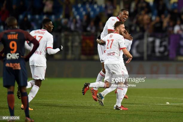 Team of Toulouse celebrates the first goal by Giannelli Imbula during the Ligue 1 match between Montpellier and Toulouse at Stade de la Mosson on...