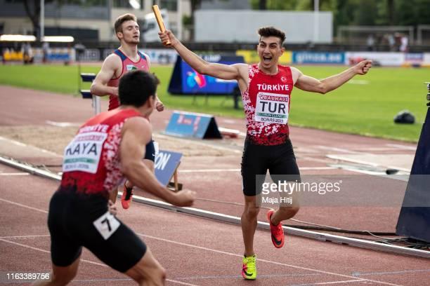 Team of Turkey celebrate after winning 4x400m Men Relay Final on July 21, 2019 in Boras, Sweden.