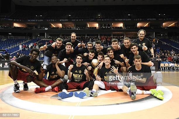 Team of U18 FC Barcelona Lassa celebrates after the Turkish Airlines Euroleague Basketball Adidas Next Generation Tournament Championship game...