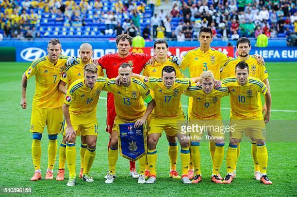Team of Ukraine during the UEFA EURO 2016 Group C match between Ukraine and Northern Ireland on June 16 2016 in DecinesCharpieu France