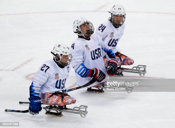 Team of United States celebrate a scored goal in the Ice Hockey gold medal game between United States and Canada during day nine of the PyeongChang...