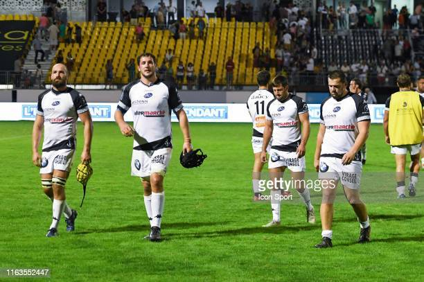Team of Vannes looks dejected after defeat during the Pro D2 match between Union sportive carcassonnaise XV and Rugby club Vanne on August 23, 2019...