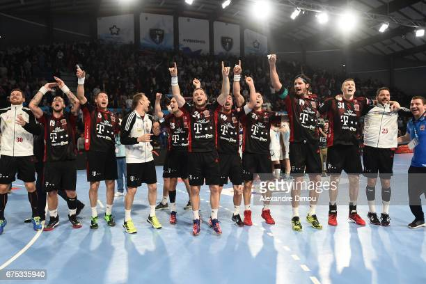 Team of Veszprem celebrates the Victory during the Champions League match between Montpellier and Veszprem on April 30 2017 in Montpellier France