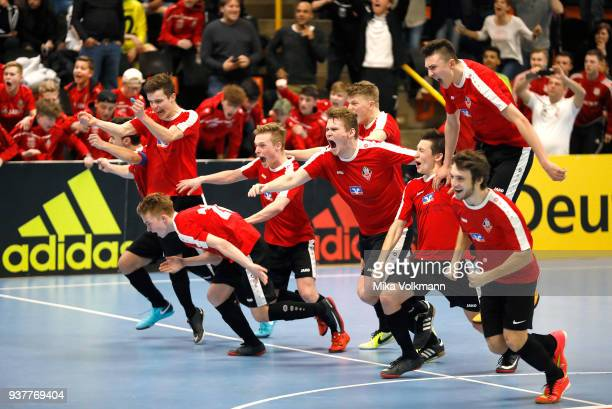 Team of VFB Eppingen celebrate the victory about TSV Hertha Walheim after penalty kick of the DFB Indoor Football match between VFB Eppingen and TSV...