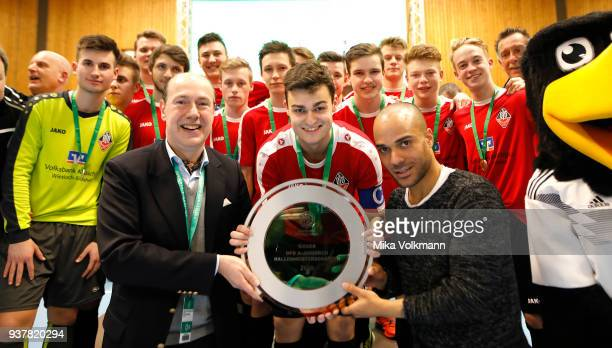 Team of VFB Eppingen win the trophy of the AJunioren David Odonkor during the winning ceremony the DFB Indoor Football on March 25 2018 in Gevelsberg...