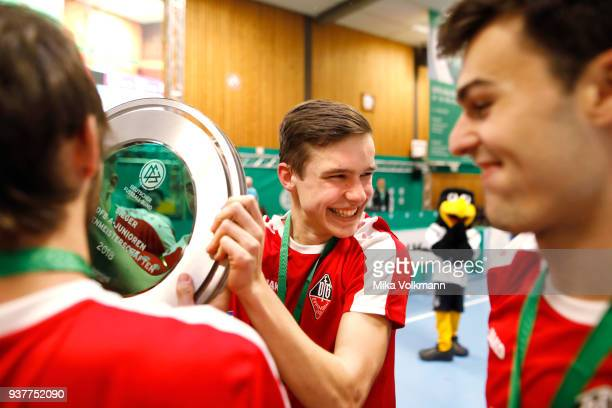 Team of VFB Eppingen win the trophy of the AJunioren during the winning ceremony the DFB Indoor Football on March 25 2018 in Gevelsberg Germany