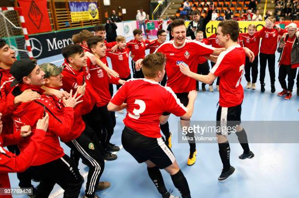 Team of VFB Eppingen win the victory about TSV Hertha Walheim after the final of the DFB Indoor Football between VFB Eppingen and TSV Hertha Walheim...