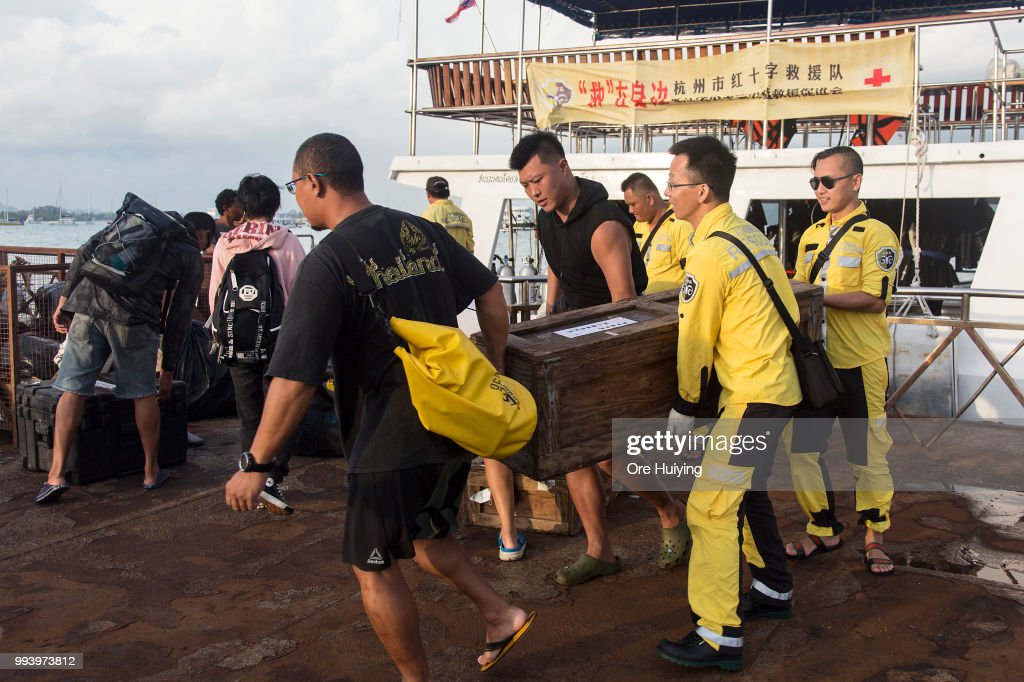A team of volunteers made up of Chinese rescue experts and divers from a Thai diving center pack up their equipment and belonging at Chalong Pier after they return from a search on the sea on the fourth day of rescue operation of capsized tourist boat Phoenix on July 8, 2018 in Phuket, Thailand. At least 42 people drowned and another 14 missing two days after a tourist boat carrying mostly Chinese passengers capsized off the holiday island of Phuket in southern Thailand. The boat carried 105 people, including 93 tourists, 11 crew and one tour guide, and went down during severe weather on Thursday evening as authorities announced all of the dead are Chinese nationals.