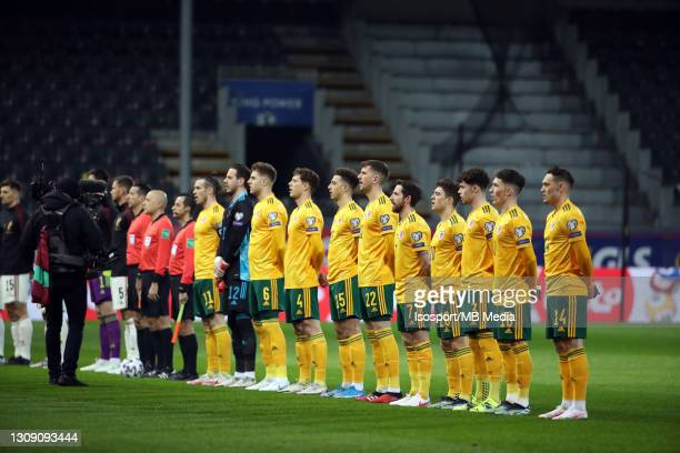 Team of Wales line-up during the FIFA World Cup 2022 Qatar qualifying match between Belgium and Wales on March 24, 2021 in Leuven, Belgium.