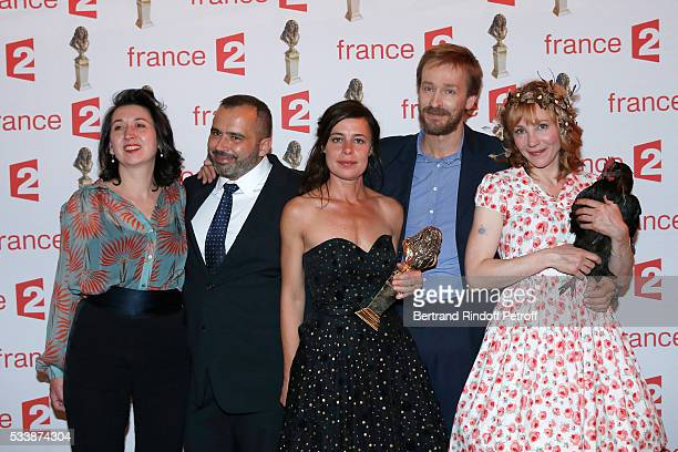 Team of Winner of 'Moliere de la Creation visuelle' '20 000 lieues sous les mers' with Administrator of the 'Comedie Francaise' Eric Ruf actress...