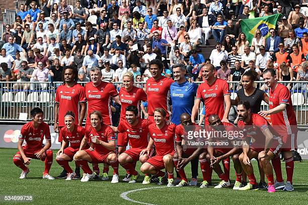 Team of World AllStars line up during the Ultimate Champions Match between Milan Inter Legends and World AllStars during the Champions Festival prior...