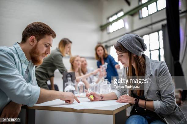 Team of young, creative designers in an office table